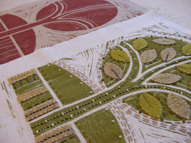Embellishing Lino Printed Fabric
